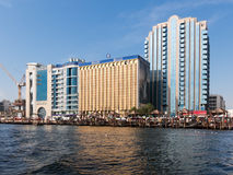 View from Creek of Financial Center of Dubai Stock Images