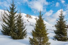 View of the Cretaceous through the firs. The snowy expanses of the Kostomarovsky monastery attract our attention, nature has created a miracle and it is not Stock Photos