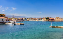 View of the Cretan sea and Greek port of Chania on the island of Crete. Stock Images