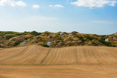 View of the Crete Senesi a scenic place near Siena, Italy. Scenic view of a tuscany countryside in summer stock image