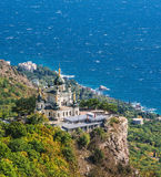 The view in Crimea. The Church of Christ`s Resurrection on the Red Cliff near Foros in Crimea. View from the Baidar Gate Stock Images
