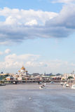 View of Crimean bridge and Catherdral in Moscow Royalty Free Stock Images