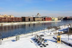 View from the Crimean Bridge to the Crimean Embankment, Moscow River and Prechistenskaya Embankment. stock photos