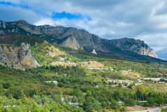 View on Crimean Mountains near Simeiz resort Royalty Free Stock Photos
