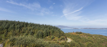 View from Crinan Forest in Scotland. View from Crinan Forest at Knapdale area of West Argyll in Scotland Royalty Free Stock Image