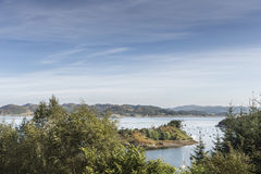View from Crinan Forest in Scotland. View from Crinan Forest over Crinan harbour and coast at Knapdale area of West Argyll in Scotland Stock Image
