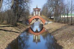 View of the Cross bridge Sunny day in April. Tsarskoye Selo Stock Photography
