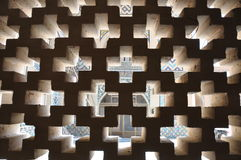 View through cross-shaped checkerwork Royalty Free Stock Photography