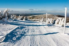 View of crosscountry skiing way and mount Serak Royalty Free Stock Photography