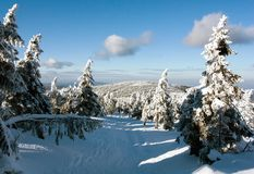 View of crosscountry skiing way and mount Serak Stock Images