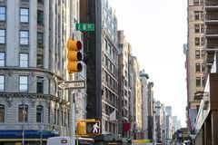 View of crowded city streets looking down Broadway from the inte Stock Photos
