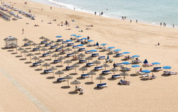 View of crowded Falesia beach Albufeira Royalty Free Stock Photo