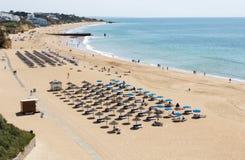 View of crowded Falesia beach Albufeira Royalty Free Stock Photos