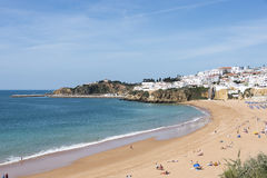 View of crowded Falesia beach Albufeira Stock Photo