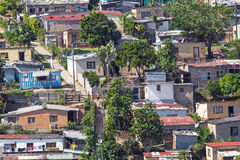 View of Crowded Low Cost Residential Housing Settlement. DURBAN, SOUTH AFRICA - APRIL 18, 2017: Above Close up view of crowded low cost residential housing Stock Image