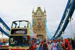 Busy Tower Bridge  London United Kingdom. View of crowded Tower Bridge-the most famous bridge in the world,London Great Britain.Tower Bridge is a combined Royalty Free Stock Images