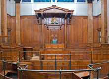 View of Crown Court room inside St Georges Hall, Liverpool, UK Stock Photo