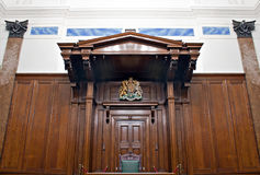 View of Crown Court room inside St Georges Hall, Liverpool, UK Stock Image