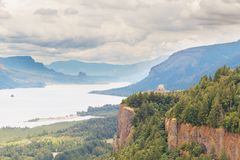 View of Crown Point and the Vista House royalty free stock image