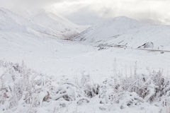 View of the Crown Range mountains  after snowfall. Royalty Free Stock Photo