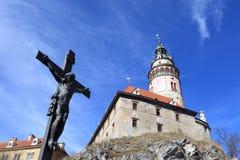 View of crucifix near Cesky Krumlov castle Royalty Free Stock Photos