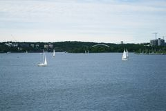 View from the cruise liner at the entrance to Sweden stock photography