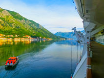 View from cruise liner, Kotor Bay, Montenegro. The View from cruise liner, Kotor Bay, Montenegro royalty free stock photography