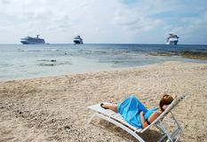 The View with Cruise Liners Stock Photography