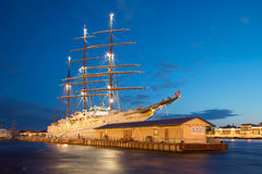 View of the cruise sailing vessel of `Sea Cloud II` moored at the English pier in the white night. Saint Petersburg Stock Photography