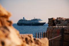 View of cruise ship Azamara Journey from old medieval Fort Stock Photography