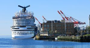 View of of Cruise ship docked in Halifax, Nova Scotia harbour stock photography