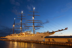 View of the cruise ship about the English embankment in St. Petersburg during white night Stock Photo