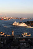View of cruise ship in Golden Horn Stock Image