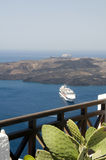 View cruise ship in harbor santorini Stock Images