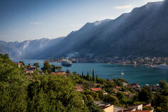 View on cruise ship in Kotor bay at early morning, Monteengro Royalty Free Stock Photos
