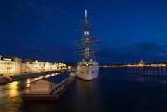 View of the cruise ship `Sea Cloud II` on the English Marina, white night. Saint Petersburg Royalty Free Stock Image