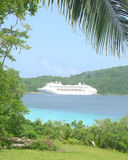 View on the cruise ship from the Vanuatu island Royalty Free Stock Image