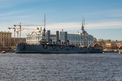 Cruiser `Aurora ` and Nakhimov Naval School. View of Cruiser `Aurora ` and Nakhimov Naval School. St. Petersburg. Russia royalty free stock image