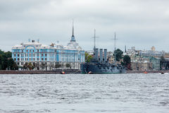 View of the cruiser Aurora in St. Petersburg Stock Images