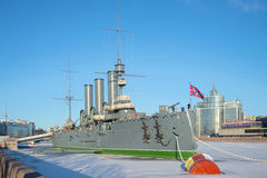 A view of the cruiser `Aurora`, sunny January day. Saint Petersburg Royalty Free Stock Photos