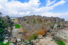 Crusader Belvoir Fortress and its moat. View of the crusader Belvoir Fortress and its moat, now a national park. Northern Israel Royalty Free Stock Photo