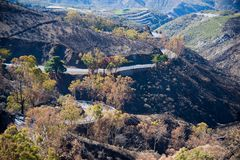 View from Cruz de Tejeda on the mountains. View on Gran Canaria mountains and twisty road from village Crus de Tejede, Spain royalty free stock photo