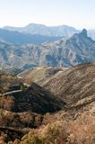 View from Cruz de Tejeda to the mountains. View on Gran Canaria mountains and twisty road from village Crus de Tejede, Spain stock photos