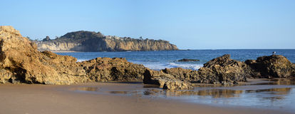 View of Crystal Cove State Park, Southern California. Image shows a panorama beach view of the south end of Crystal Cove State Park. A state park of California stock images