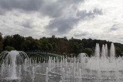 View of crystal streams of water Tsaritsyno fountain. Moscow. Russia. Stock Image
