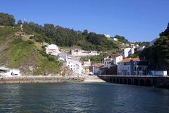 View of Cudillero from the ocean Royalty Free Stock Photos