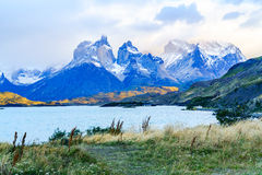 View of Cuernos del Paine from lake Pehoe royalty free stock photography