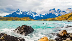 View of Cuernos del Paine and Lake Pehoe stock video footage