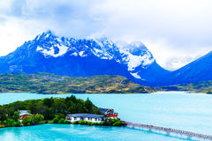 View of Cuernos Del Paine and Lake Pehoe. In Torres Del Paine National Park Chile royalty free stock image