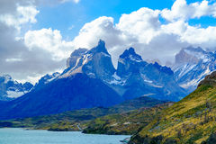 View of Cuernos Del Paine at Lake Pehoe. In Torres Del Paine National Park Chile stock images